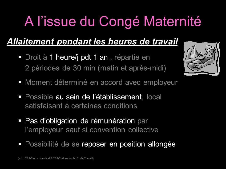 A lissue du Congé Maternité Allaitement pendant les heures de travail Droit à 1 heure/j pdt 1 an, répartie en 2 périodes de 30 min (matin et après-mid