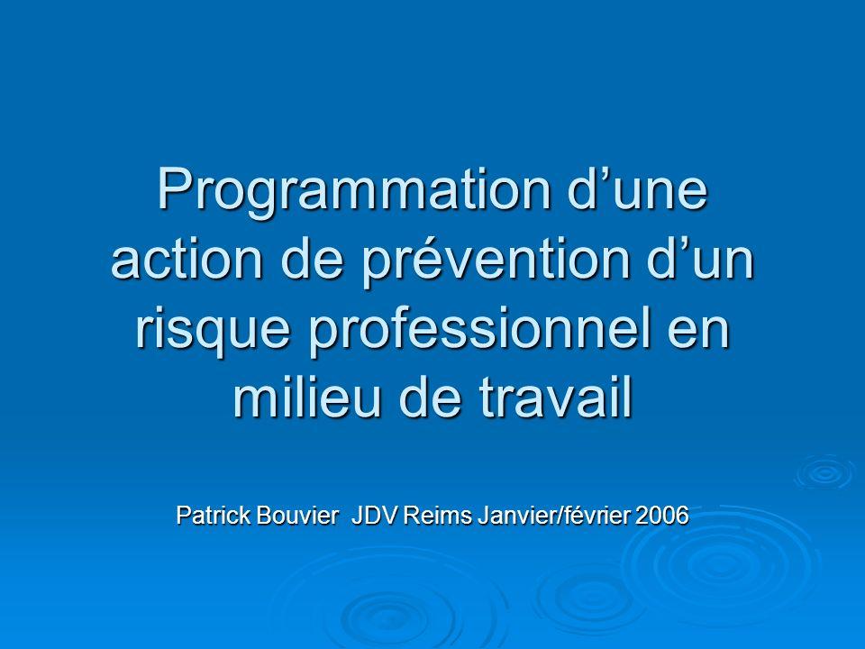 Programmation dune action de prévention dun risque professionnel en milieu de travail Patrick Bouvier JDV Reims Janvier/février 2006