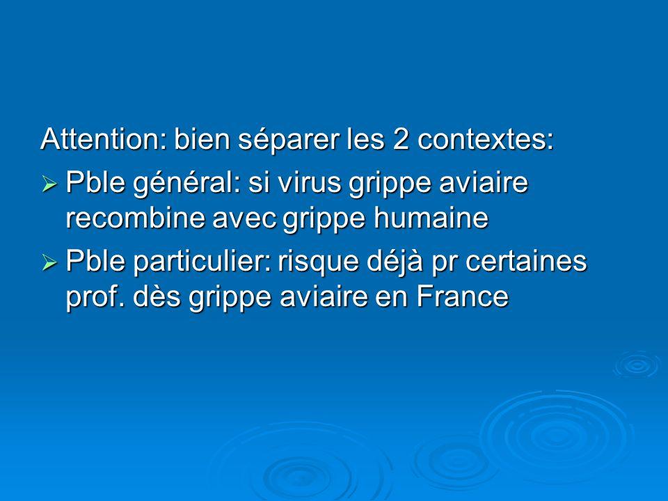 Attention: bien séparer les 2 contextes: Pble général: si virus grippe aviaire recombine avec grippe humaine Pble général: si virus grippe aviaire rec