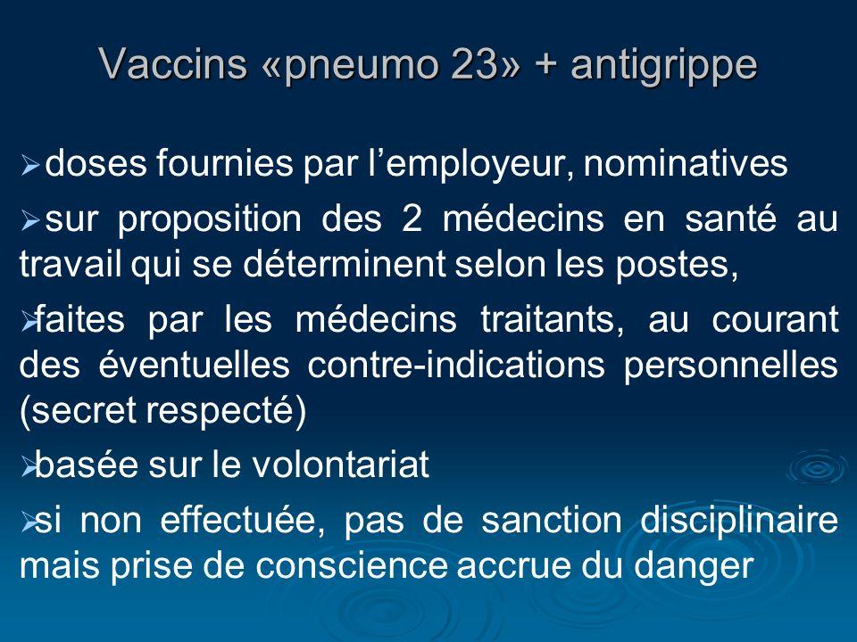 Vaccins «pneumo 23» + antigrippe doses fournies par lemployeur, nominatives sur proposition des 2 médecins en santé au travail qui se déterminent selo