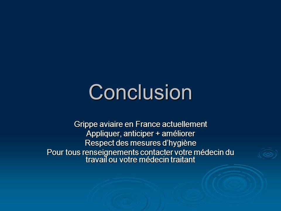 Conclusion Grippe aviaire en France actuellement Appliquer, anticiper + améliorer Respect des mesures dhygiène Pour tous renseignements contacter votr