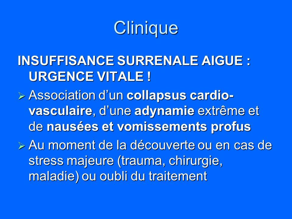 Clinique INSUFFISANCE SURRENALE AIGUE : URGENCE VITALE ! Association dun collapsus cardio- vasculaire, dune adynamie extrême et de nausées et vomissem