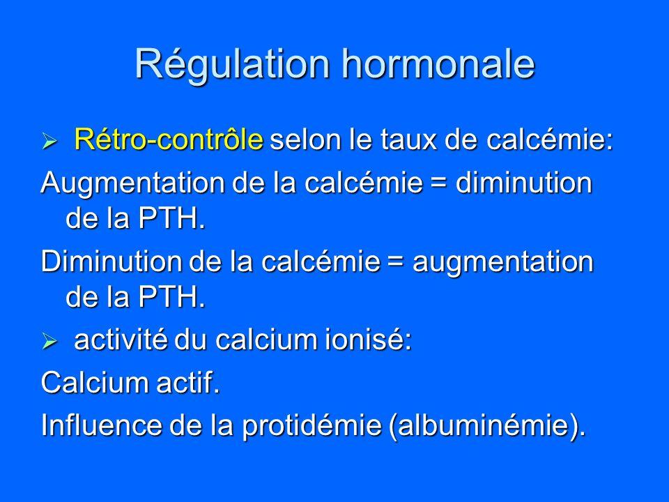 Régulation hormonale Rétro-contrôle selon le taux de calcémie: Rétro-contrôle selon le taux de calcémie: Augmentation de la calcémie = diminution de l