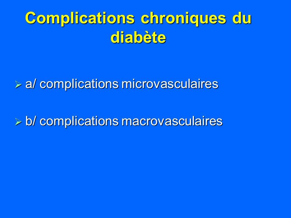 Complications chroniques du diabète a/ complications microvasculaires a/ complications microvasculaires b/ complications macrovasculaires b/ complicat