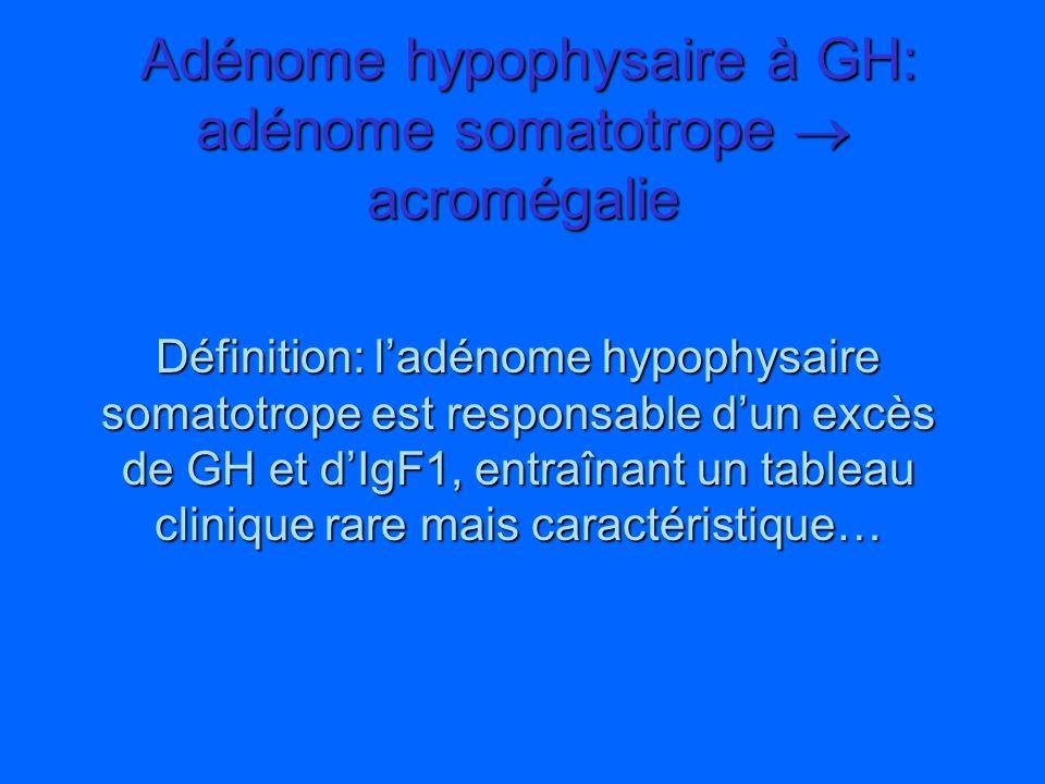 Définition: ladénome hypophysaire somatotrope est responsable dun excès de GH et dIgF1, entraînant un tableau clinique rare mais caractéristique… Adén