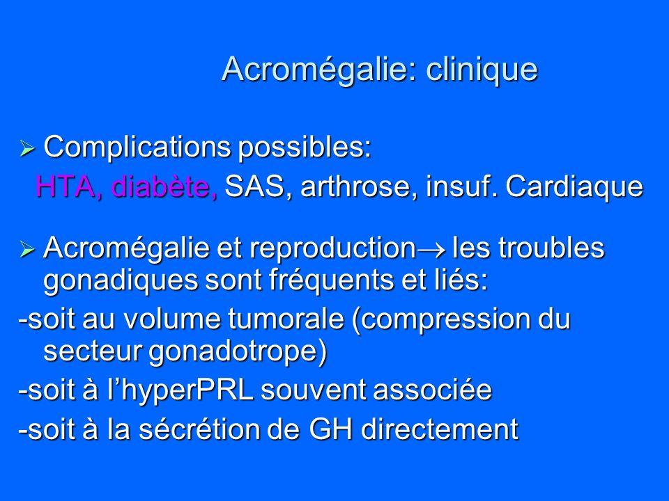 Acromégalie: clinique Complications possibles: Complications possibles: HTA, diabète, SAS, arthrose, insuf. Cardiaque HTA, diabète, SAS, arthrose, ins