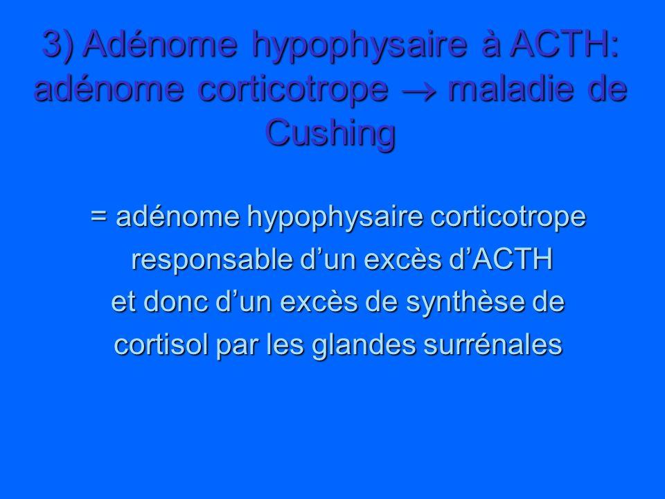 = adénome hypophysaire corticotrope responsable dun excès dACTH responsable dun excès dACTH et donc dun excès de synthèse de cortisol par les glandes