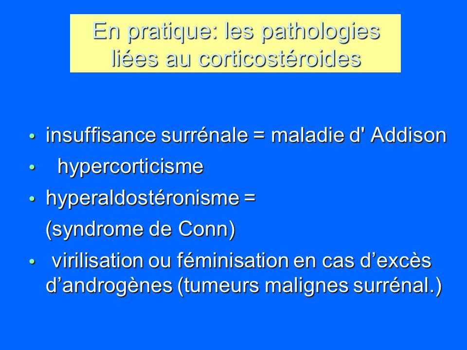 En pratique: les pathologies liées au corticostéroides insuffisance surrénale = maladie d' Addison insuffisance surrénale = maladie d' Addison hyperco