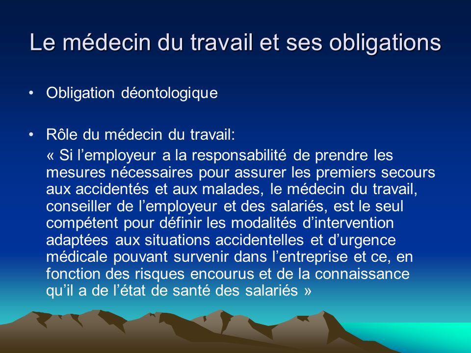 Le médecin du travail et ses obligations Obligation déontologique Rôle du médecin du travail: « Si lemployeur a la responsabilité de prendre les mesur
