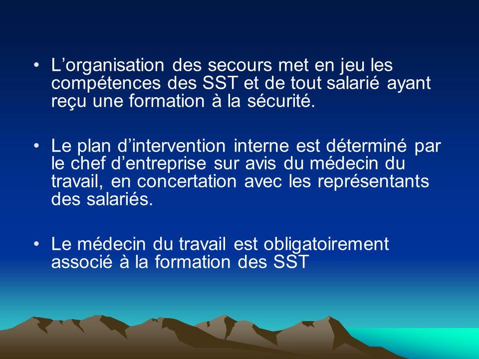 Lorganisation des secours met en jeu les compétences des SST et de tout salarié ayant reçu une formation à la sécurité. Le plan dintervention interne