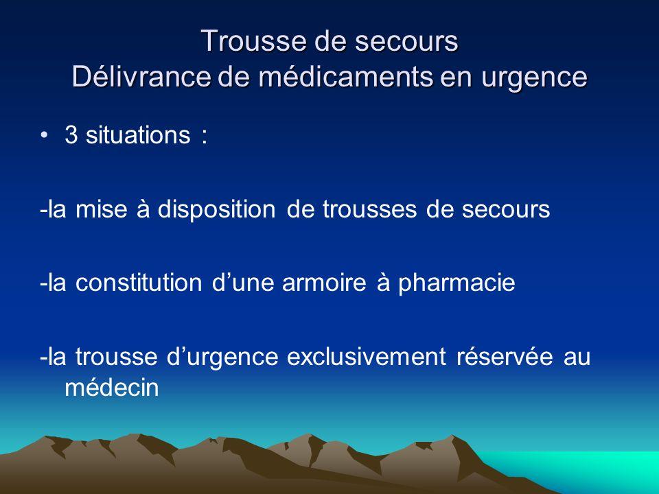 Trousse de secours Délivrance de médicaments en urgence 3 situations : -la mise à disposition de trousses de secours -la constitution dune armoire à p