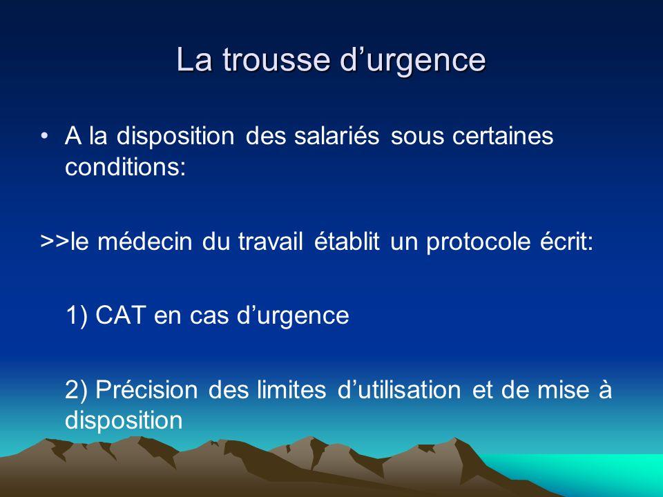 La trousse durgence A la disposition des salariés sous certaines conditions: >>le médecin du travail établit un protocole écrit: 1) CAT en cas durgenc