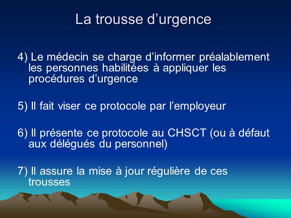 La trousse durgence 4) Le médecin se charge dinformer préalablement les personnes habilitées à appliquer les procédures durgence 5) Il fait viser ce p