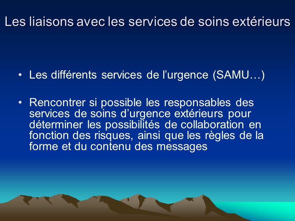 Les liaisons avec les services de soins extérieurs Les différents services de lurgence (SAMU…) Rencontrer si possible les responsables des services de