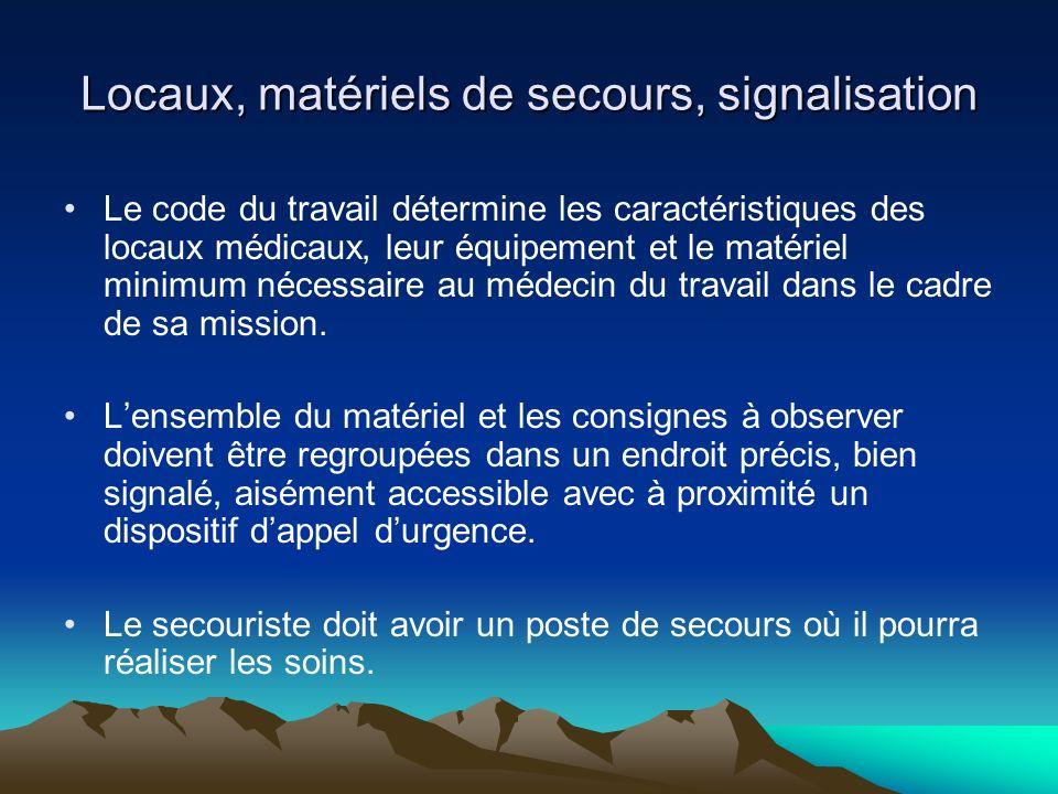 Locaux, matériels de secours, signalisation Le code du travail détermine les caractéristiques des locaux médicaux, leur équipement et le matériel mini