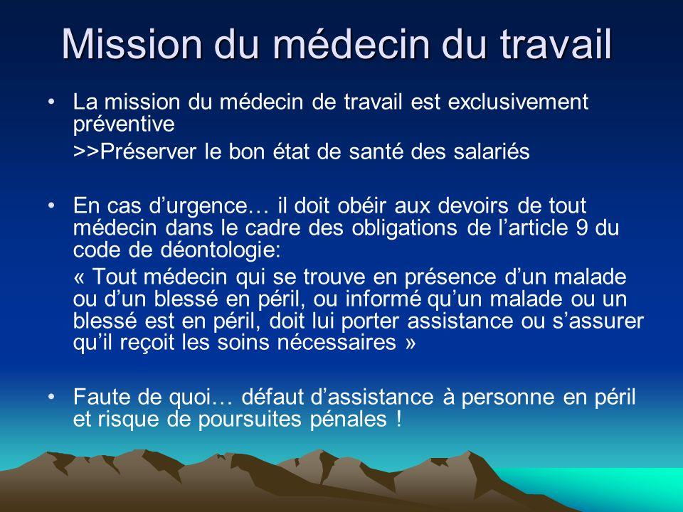 Mission du médecin du travail La mission du médecin de travail est exclusivement préventive >>Préserver le bon état de santé des salariés En cas durge