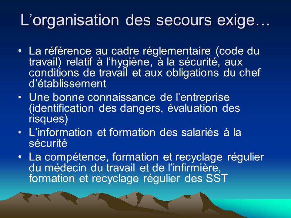 Lorganisation des secours exige… La référence au cadre réglementaire (code du travail) relatif à lhygiène, à la sécurité, aux conditions de travail et