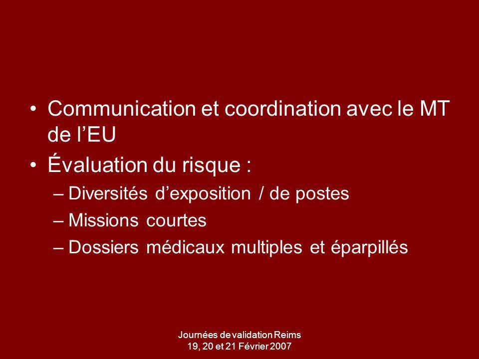 Journées de validation Reims 19, 20 et 21 Février 2007 Communication et coordination avec le MT de lEU Évaluation du risque : –Diversités dexposition / de postes –Missions courtes –Dossiers médicaux multiples et éparpillés