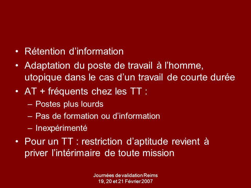Journées de validation Reims 19, 20 et 21 Février 2007 La rétention dinformation, un problème exacerbé dans le TT Mme R.