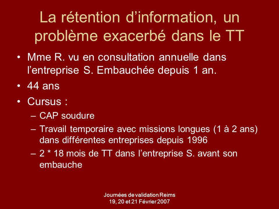 Journées de validation Reims 19, 20 et 21 Février 2007 ATCD Dans ses antécédents : –Conisation du col –Tabagisme 30 PA –IDM en 2002 avec pose dun stent Ttt : –Tareg –Bisoprolol –Kardegic –Plavix –Tahor