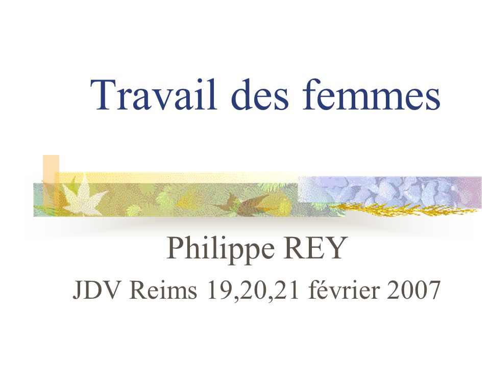 Travail des femmes Philippe REY JDV Reims 19,20,21 février 2007