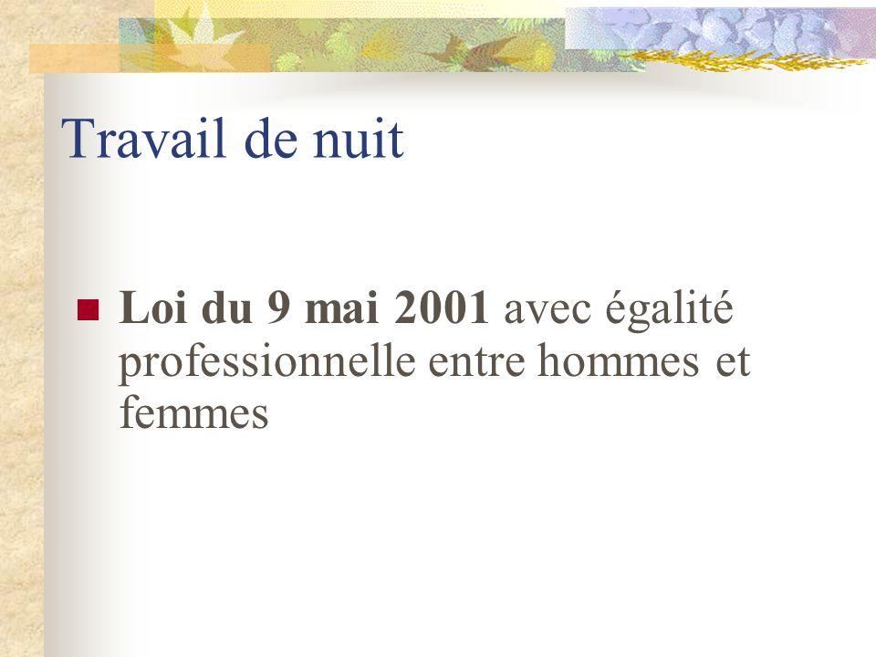 Travail de nuit Loi du 9 mai 2001 avec égalité professionnelle entre hommes et femmes