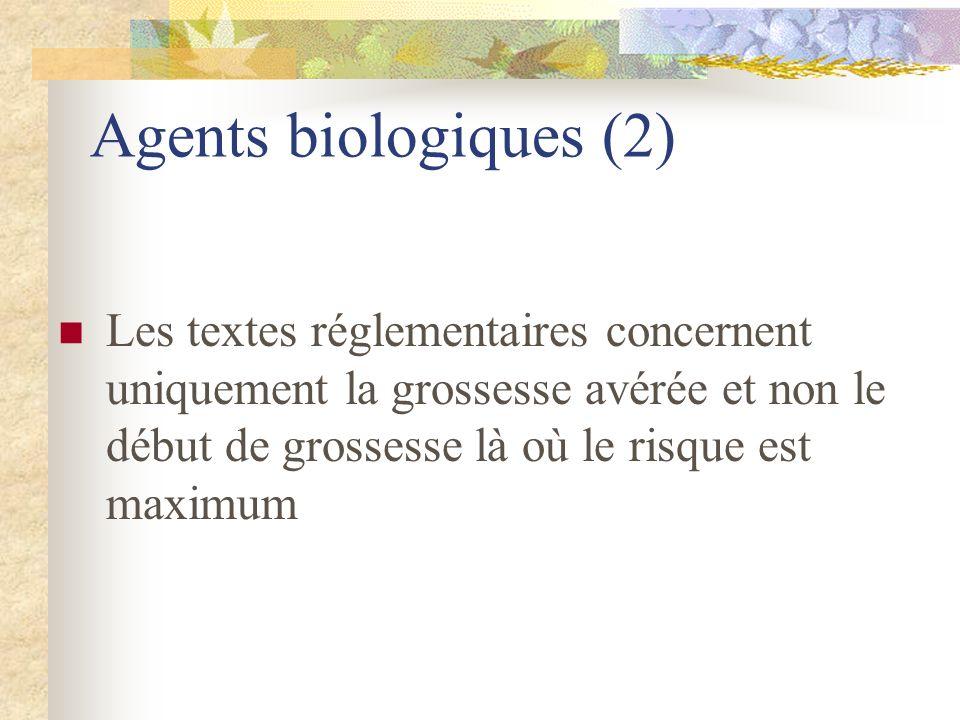 Agents biologiques (2) Les textes réglementaires concernent uniquement la grossesse avérée et non le début de grossesse là où le risque est maximum