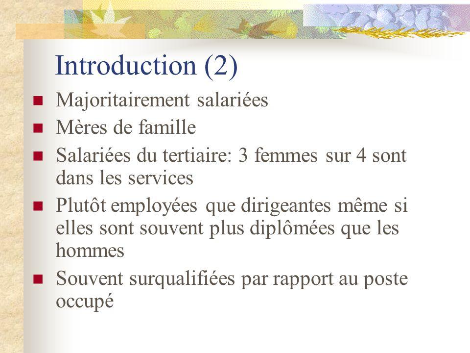 Introduction (2) Majoritairement salariées Mères de famille Salariées du tertiaire: 3 femmes sur 4 sont dans les services Plutôt employées que dirigea