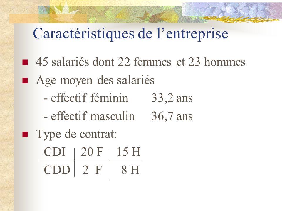 Caractéristiques de lentreprise 45 salariés dont 22 femmes et 23 hommes Age moyen des salariés - effectif féminin 33,2 ans - effectif masculin 36,7 an