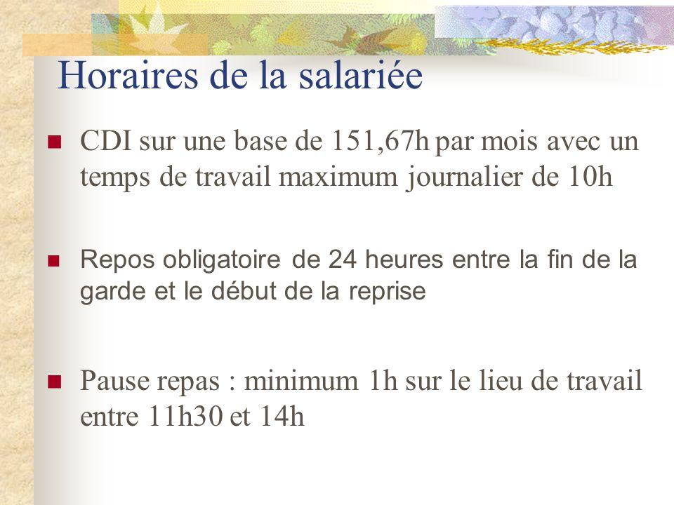 Horaires de la salariée CDI sur une base de 151,67h par mois avec un temps de travail maximum journalier de 10h Repos obligatoire de 24 heures entre l