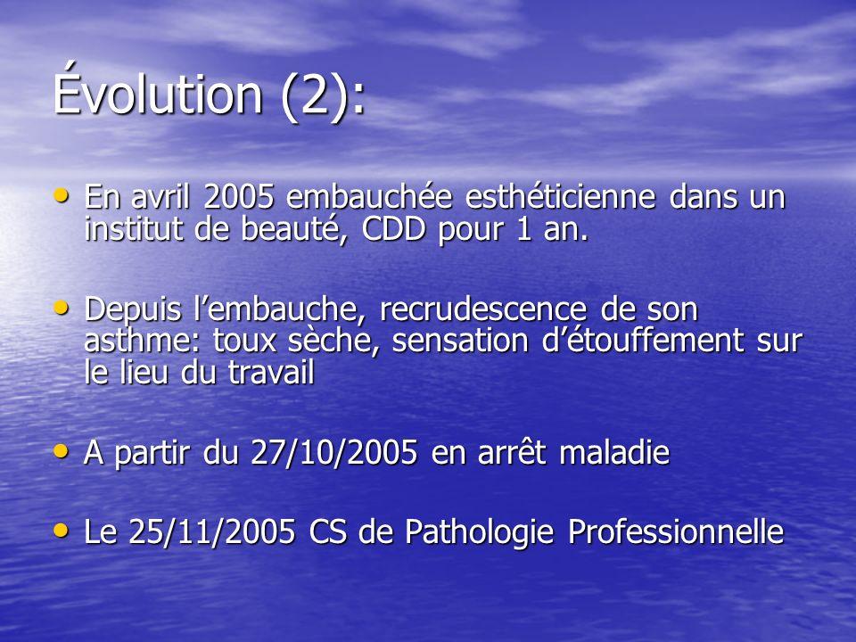 Évolution (2): En avril 2005 embauchée esthéticienne dans un institut de beauté, CDD pour 1 an.