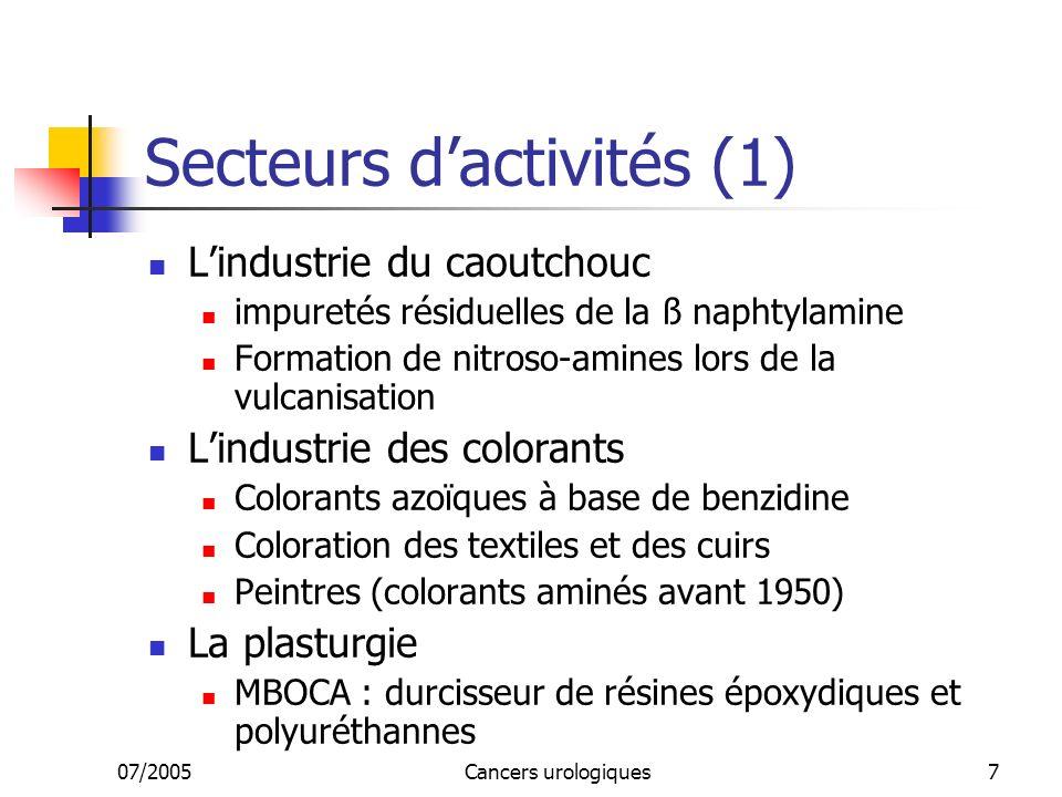 07/2005Cancers urologiques7 Secteurs dactivités (1) Lindustrie du caoutchouc impuretés résiduelles de la ß naphtylamine Formation de nitroso-amines lors de la vulcanisation Lindustrie des colorants Colorants azoïques à base de benzidine Coloration des textiles et des cuirs Peintres (colorants aminés avant 1950) La plasturgie MBOCA : durcisseur de résines époxydiques et polyuréthannes
