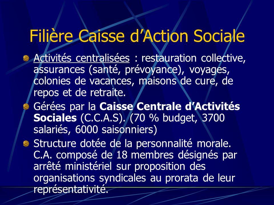 Filière Caisse dAction Sociale Activités centralisées : restauration collective, assurances (santé, prévoyance), voyages, colonies de vacances, maison