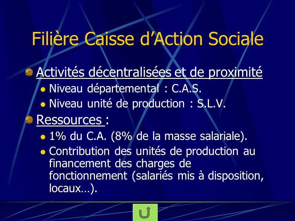 Filière Caisse dAction Sociale Activités décentralisées et de proximité Niveau départemental : C.A.S. Niveau unité de production : S.L.V. Ressources :