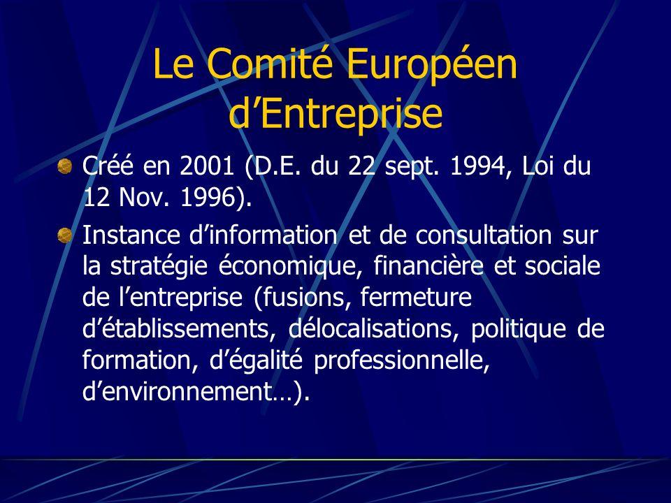Le Comité Européen dEntreprise Créé en 2001 (D.E. du 22 sept. 1994, Loi du 12 Nov. 1996). Instance dinformation et de consultation sur la stratégie éc
