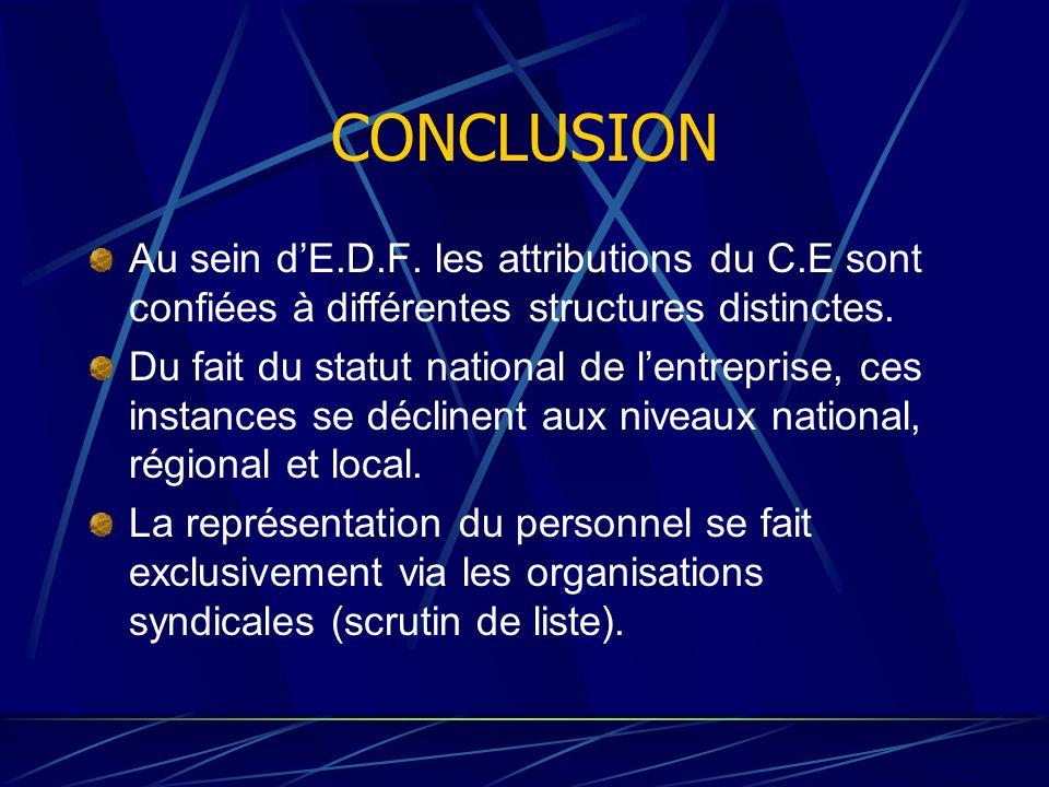CONCLUSION Au sein dE.D.F. les attributions du C.E sont confiées à différentes structures distinctes. Du fait du statut national de lentreprise, ces i