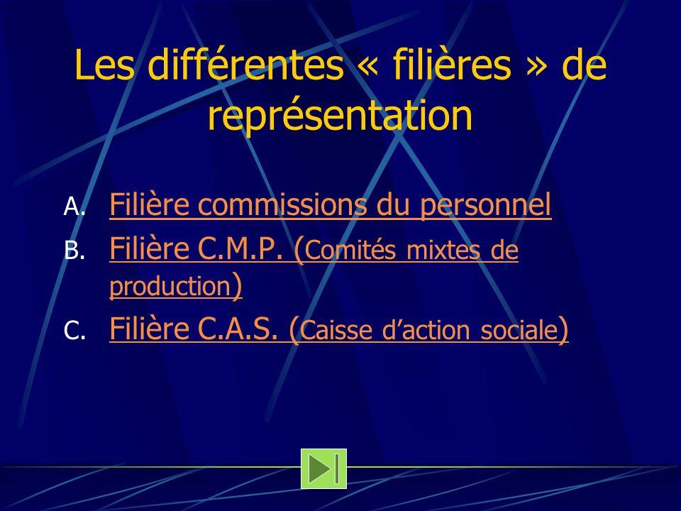 Les différentes « filières » de représentation A. Filière commissions du personnel Filière commissions du personnel B. Filière C.M.P. ( Comités mixtes