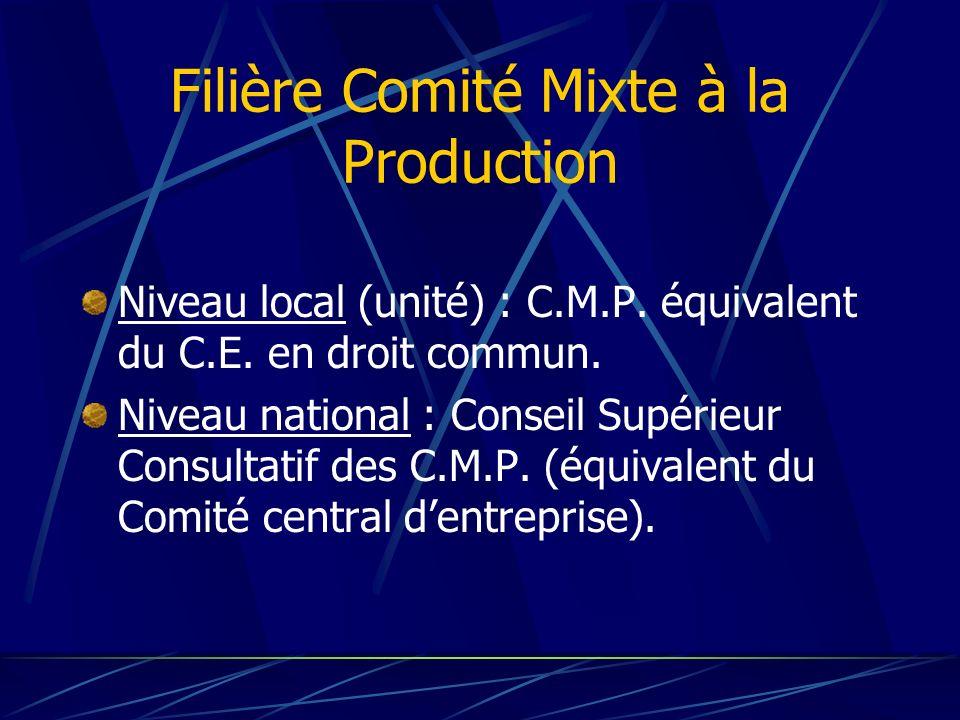 Filière Comité Mixte à la Production Niveau local (unité) : C.M.P. équivalent du C.E. en droit commun. Niveau national : Conseil Supérieur Consultatif