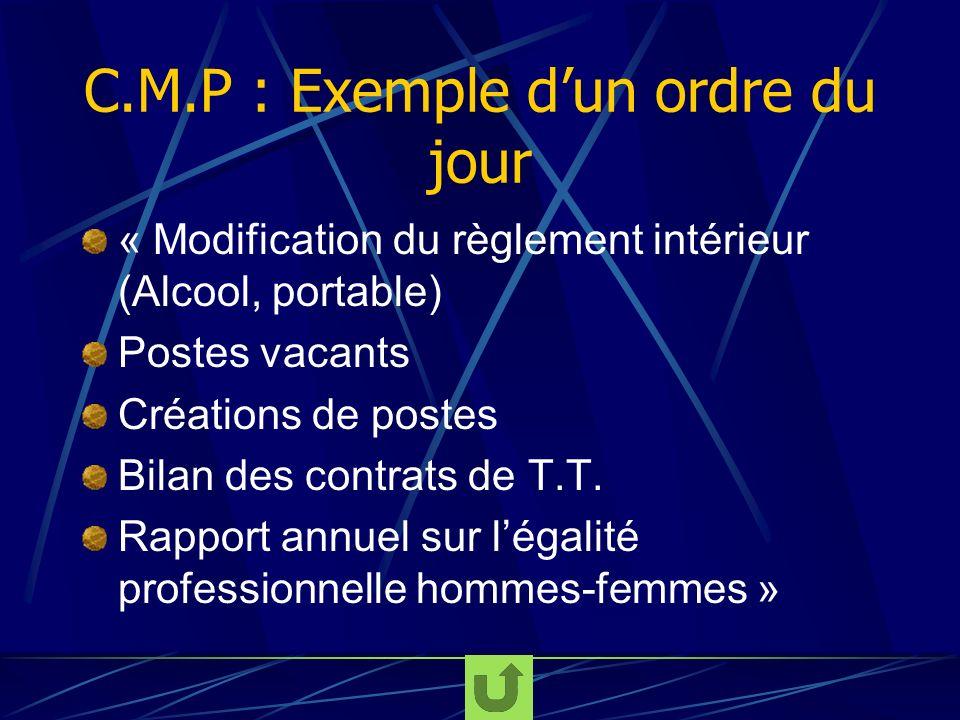 C.M.P : Exemple dun ordre du jour « Modification du règlement intérieur (Alcool, portable) Postes vacants Créations de postes Bilan des contrats de T.