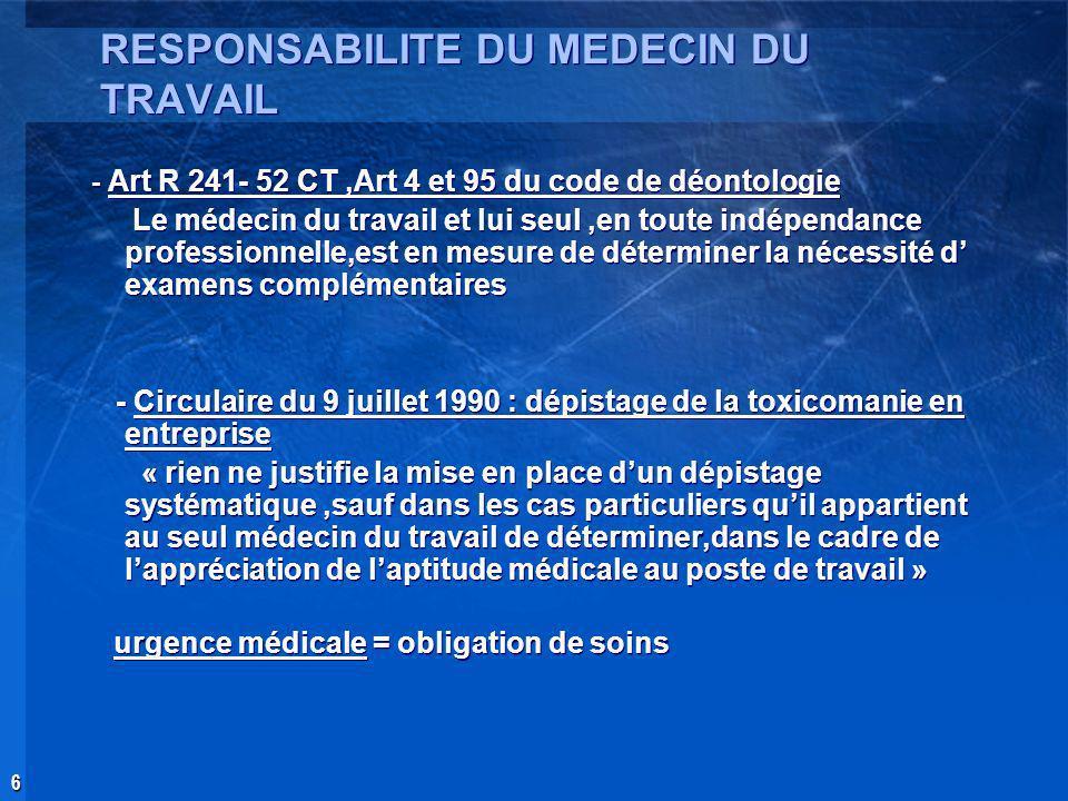 6 RESPONSABILITE DU MEDECIN DU TRAVAIL - Art R 241- 52 CT,Art 4 et 95 du code de déontologie Le médecin du travail et lui seul,en toute indépendance p
