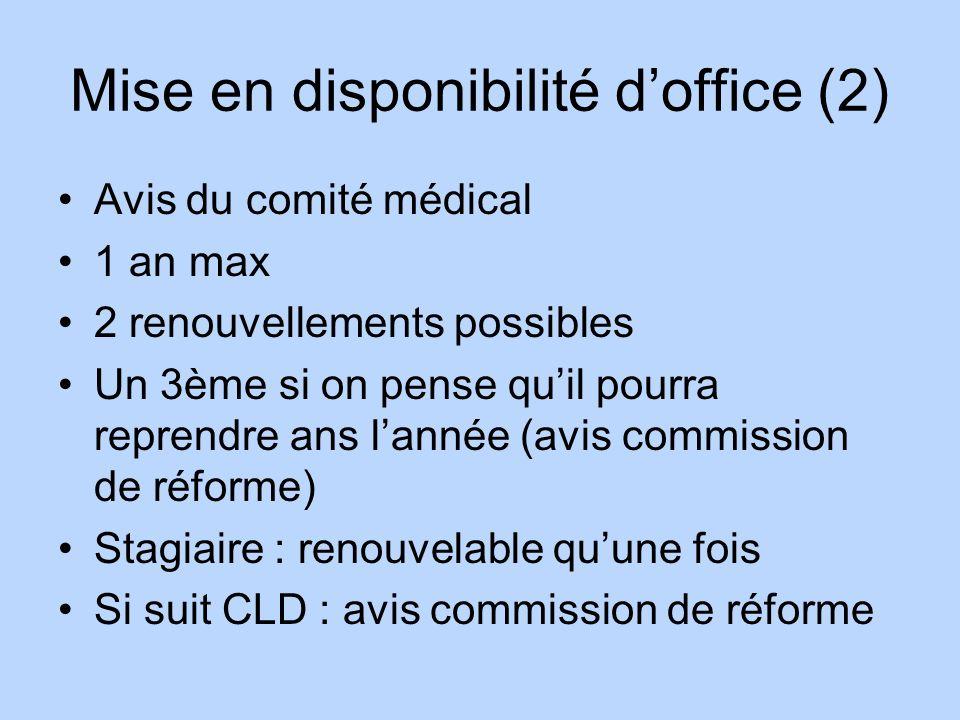 Mise en disponibilité doffice (2) Avis du comité médical 1 an max 2 renouvellements possibles Un 3ème si on pense quil pourra reprendre ans lannée (av