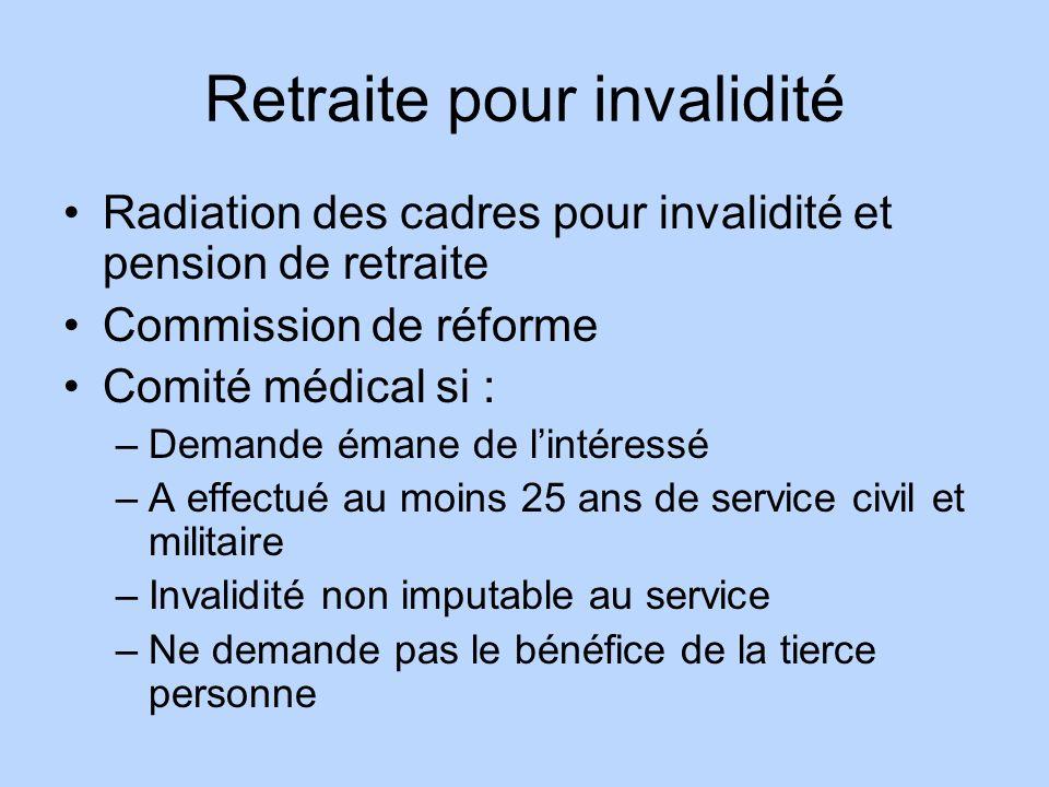 Retraite pour invalidité Radiation des cadres pour invalidité et pension de retraite Commission de réforme Comité médical si : –Demande émane de linté