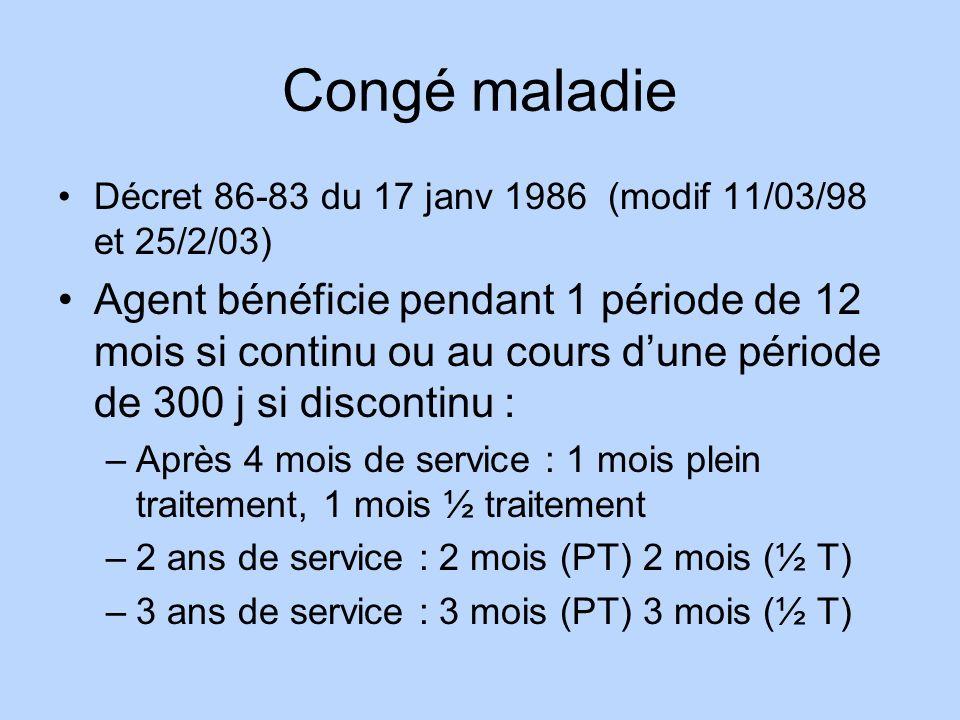 Congé maladie Décret 86-83 du 17 janv 1986 (modif 11/03/98 et 25/2/03) Agent bénéficie pendant 1 période de 12 mois si continu ou au cours dune périod