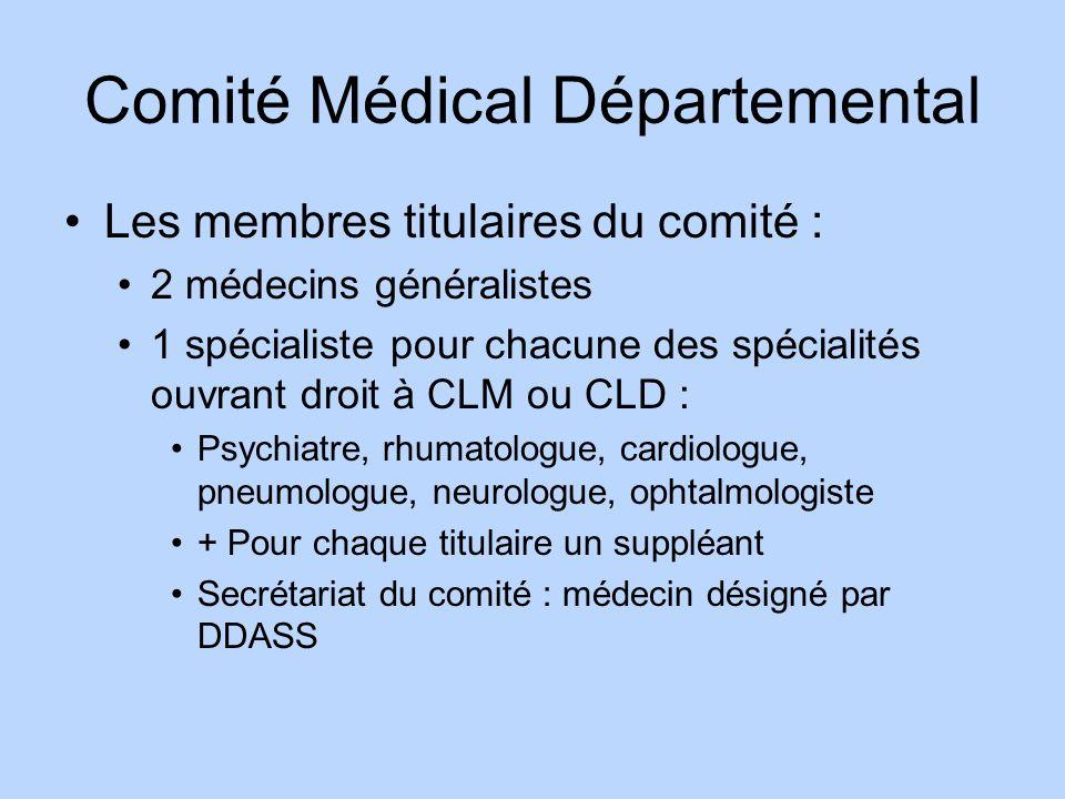 Comité Médical Départemental Les membres titulaires du comité : 2 médecins généralistes 1 spécialiste pour chacune des spécialités ouvrant droit à CLM