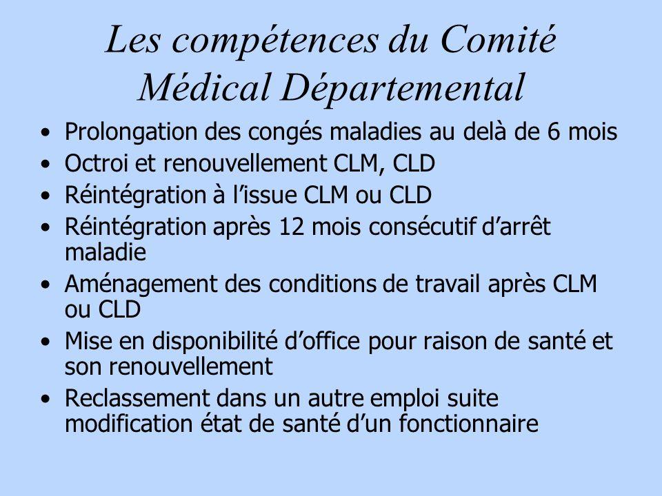 Les compétences du Comité Médical Départemental Prolongation des congés maladies au delà de 6 mois Octroi et renouvellement CLM, CLD Réintégration à l