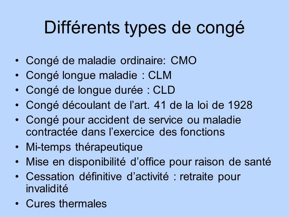 Différents types de congé Congé de maladie ordinaire: CMO Congé longue maladie : CLM Congé de longue durée : CLD Congé découlant de lart. 41 de la loi