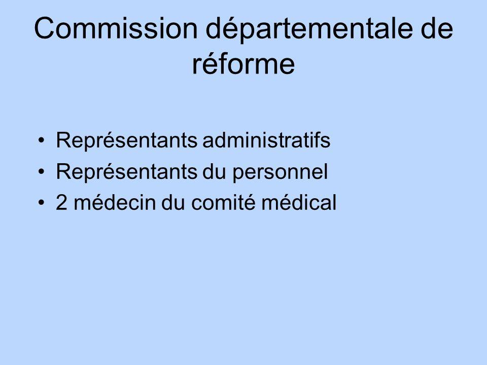 Commission départementale de réforme Représentants administratifs Représentants du personnel 2 médecin du comité médical