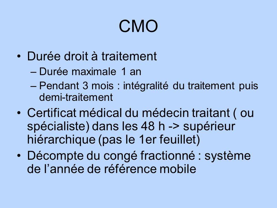 CMO Durée droit à traitement –Durée maximale 1 an –Pendant 3 mois : intégralité du traitement puis demi-traitement Certificat médical du médecin trait
