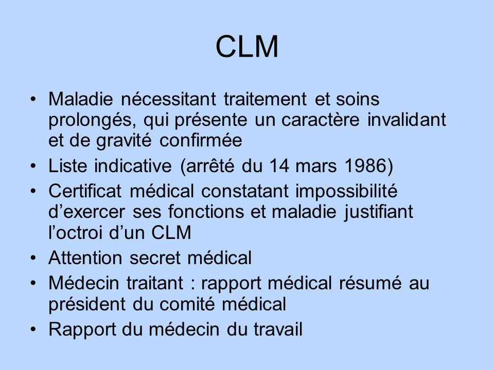 CLM Maladie nécessitant traitement et soins prolongés, qui présente un caractère invalidant et de gravité confirmée Liste indicative (arrêté du 14 mar