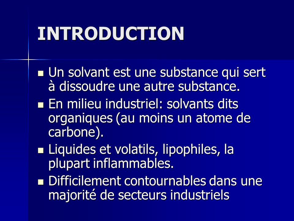 INTRODUCTION Un solvant est une substance qui sert à dissoudre une autre substance. Un solvant est une substance qui sert à dissoudre une autre substa